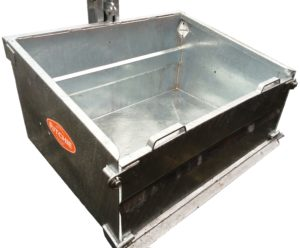 Ritchie galvanised Transport Box with tipping mechanism and blade no backround