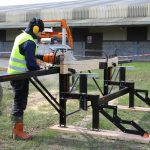 Logosol M8 mobile chainsaw mill being demonstrated at our open day March 2017