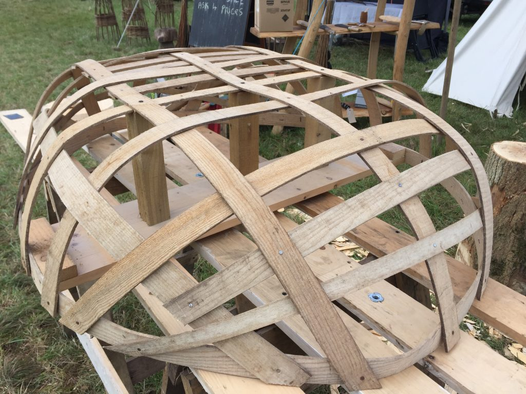 Coracle boat being made using a Norwood sawmill