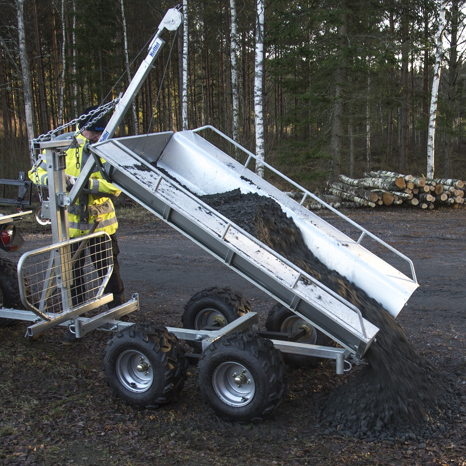 Adjustable Ball Hitch >> ATV forestry tipping trailer with winch (with floor) | Davies Implements