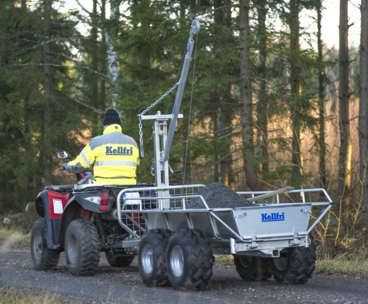 ATV forestry tipping trailer with winch (with floor